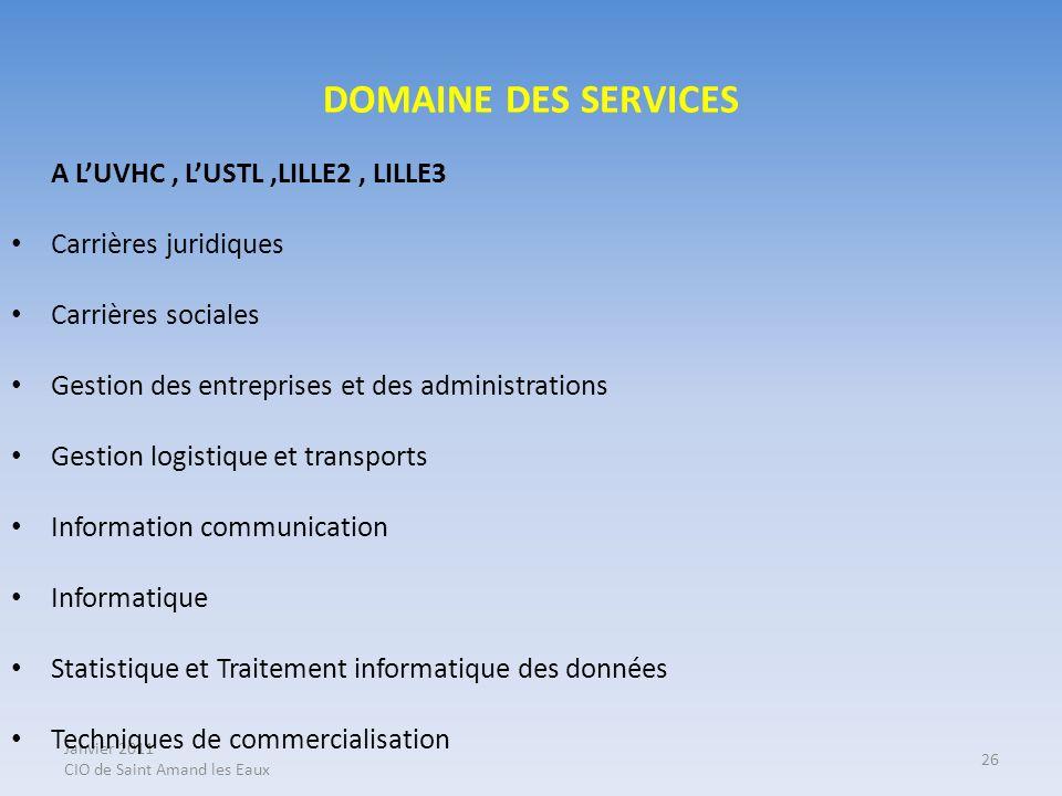 DOMAINE DES SERVICES A L'UVHC , L'USTL ,LILLE2 , LILLE3