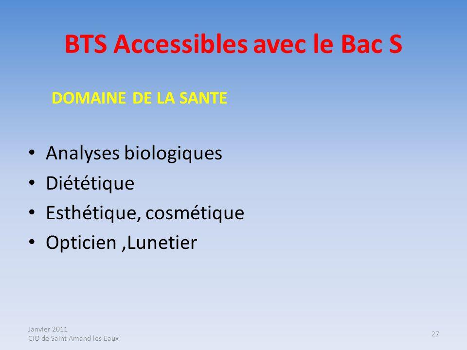 BTS Accessibles avec le Bac S