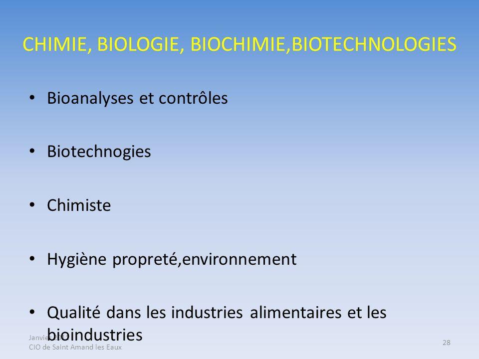 CHIMIE, BIOLOGIE, BIOCHIMIE,BIOTECHNOLOGIES