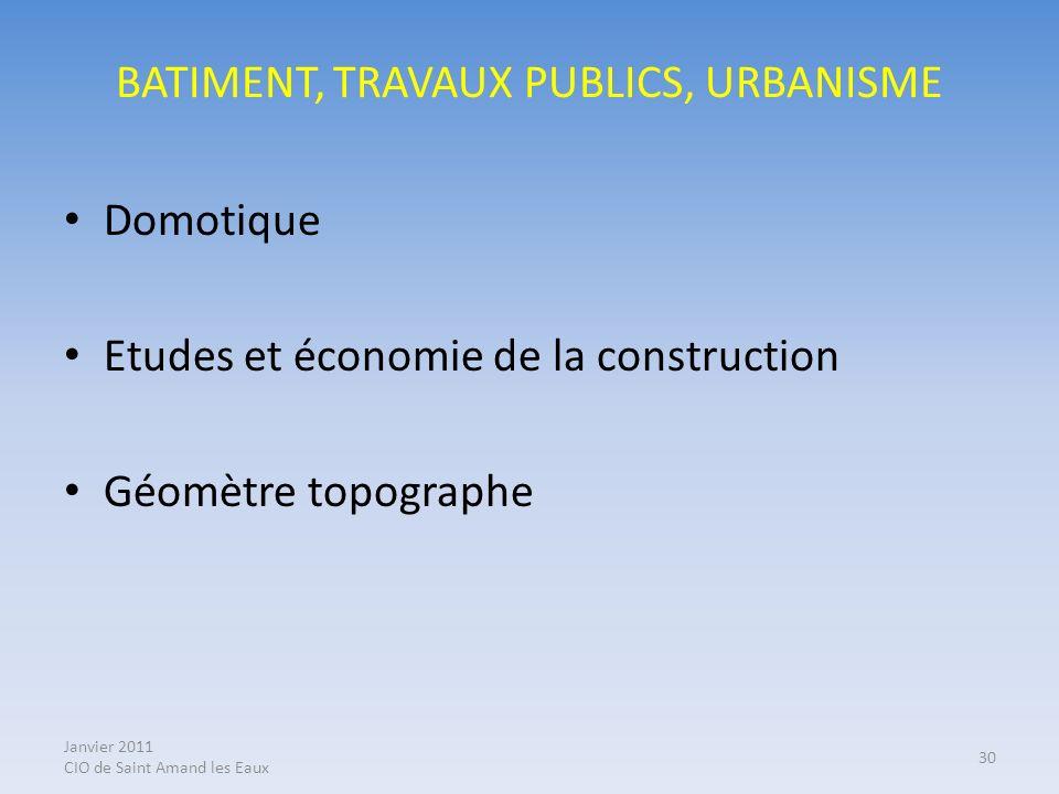 BATIMENT, TRAVAUX PUBLICS, URBANISME