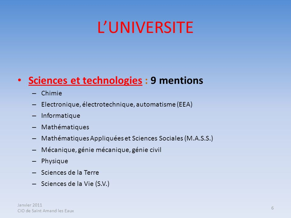 L'UNIVERSITE Sciences et technologies : 9 mentions Chimie