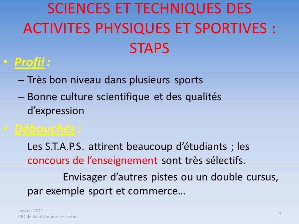 SCIENCES ET TECHNIQUES DES ACTIVITES PHYSIQUES ET SPORTIVES : STAPS