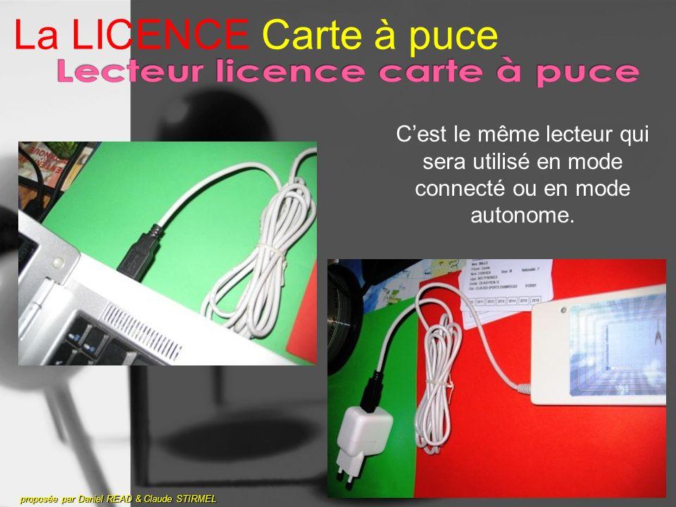 La LICENCE Carte à puce C'est le même lecteur qui sera utilisé en mode connecté ou en mode autonome.