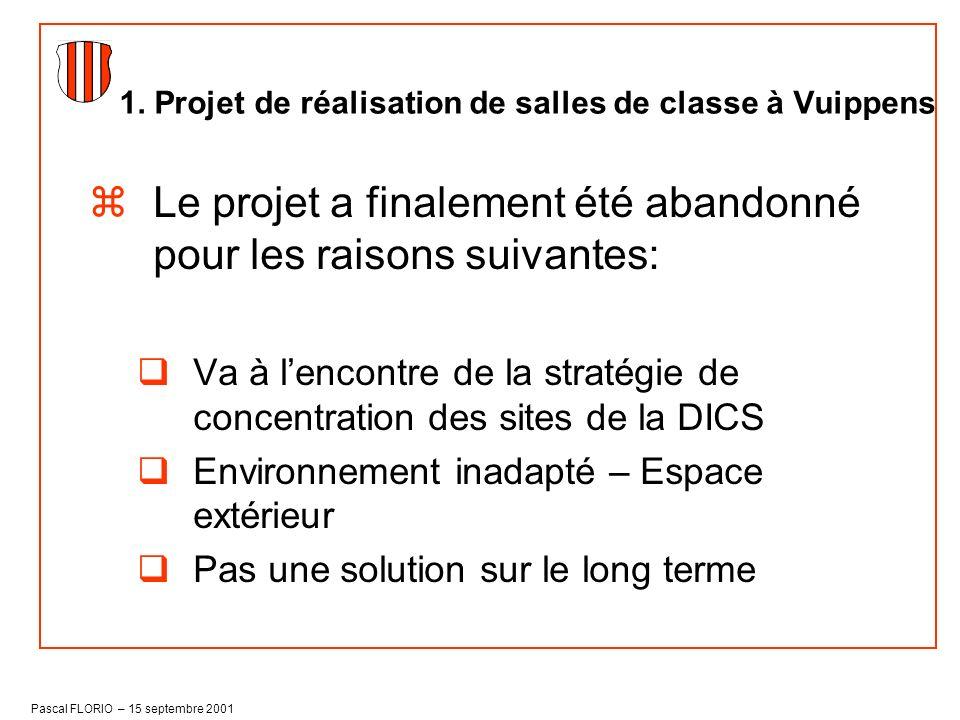 1. Projet de réalisation de salles de classe à Vuippens