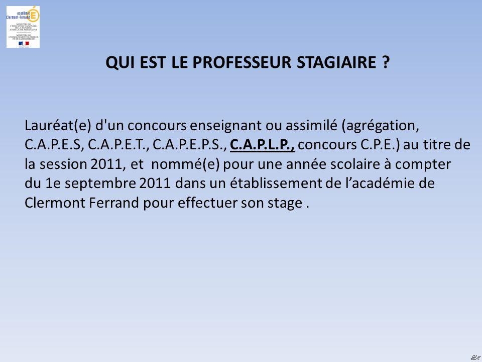 QUI EST LE PROFESSEUR STAGIAIRE