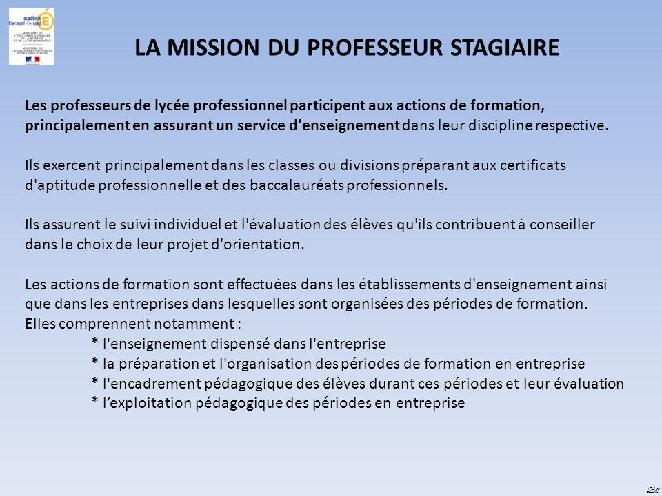 LA MISSION DU PROFESSEUR STAGIAIRE