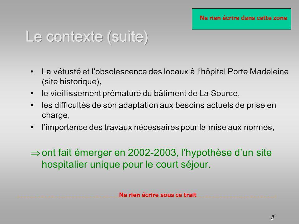 Le contexte (suite) La vétusté et l'obsolescence des locaux à l'hôpital Porte Madeleine (site historique),