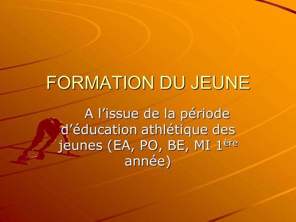 FORMATION DU JEUNE A l'issue de la période d'éducation athlétique des jeunes (EA, PO, BE, MI 1ère année)
