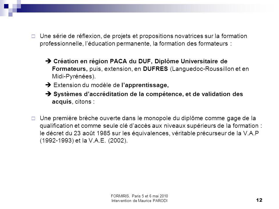 FORMIRIS, Paris 5 et 6 mai 2010 Intervention de Maurice PARODI