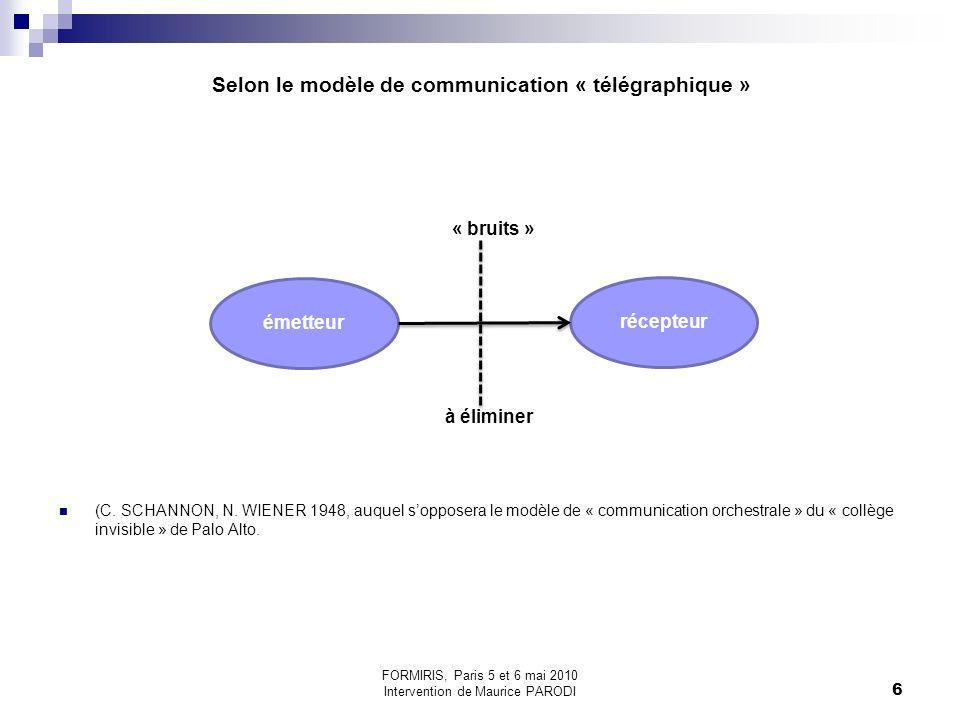 Selon le modèle de communication « télégraphique »