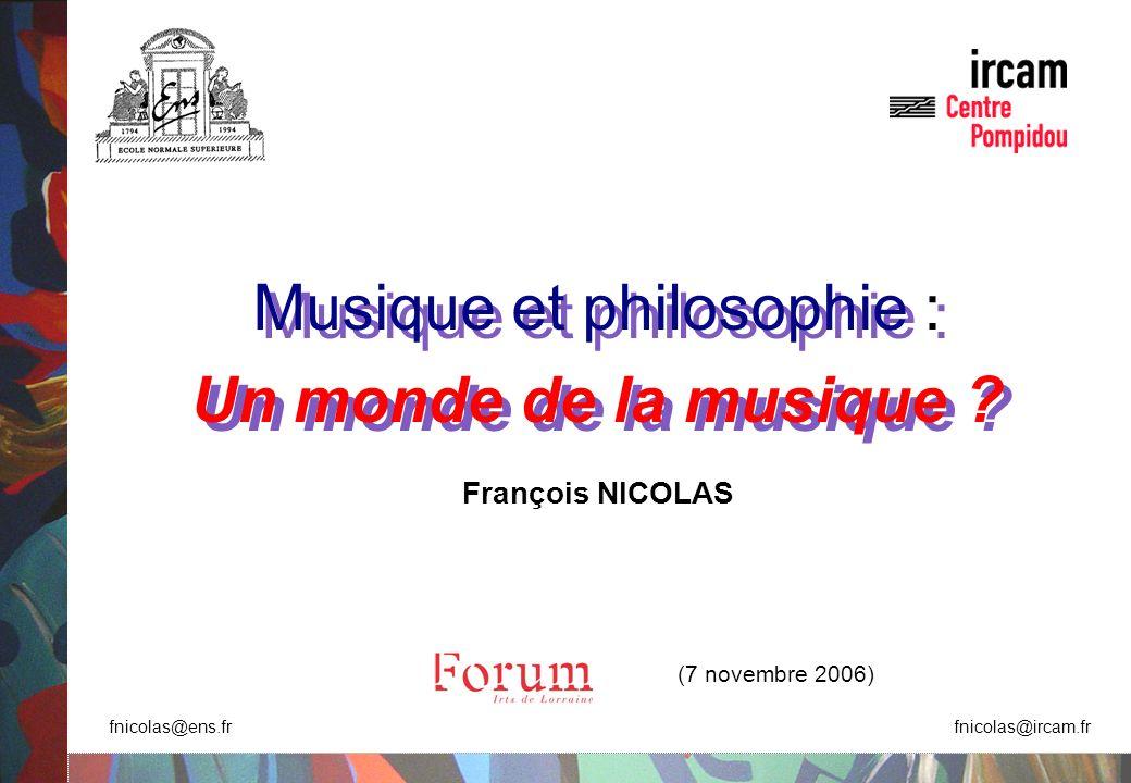 Musique et philosophie : Un monde de la musique