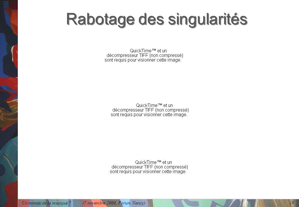 Rabotage des singularités