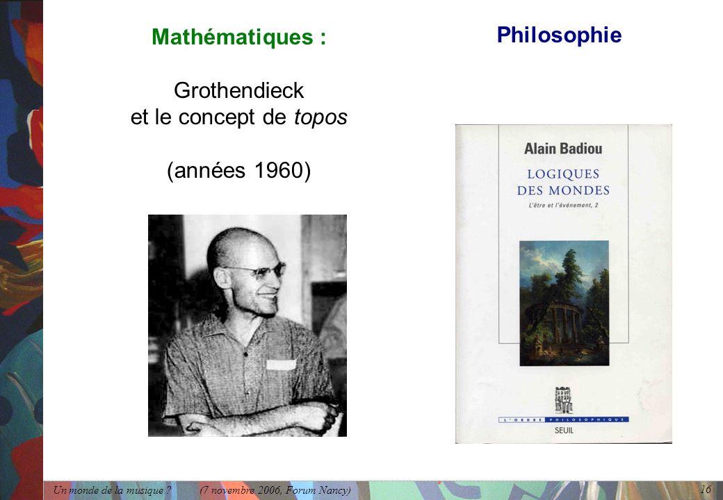 Philosophie Mathématiques : Grothendieck et le concept de topos