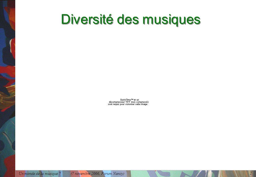 Diversité des musiques