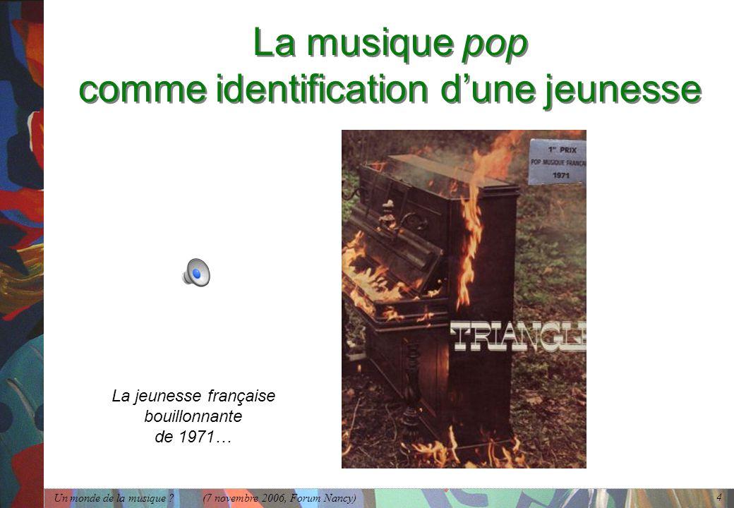 La musique pop comme identification d'une jeunesse