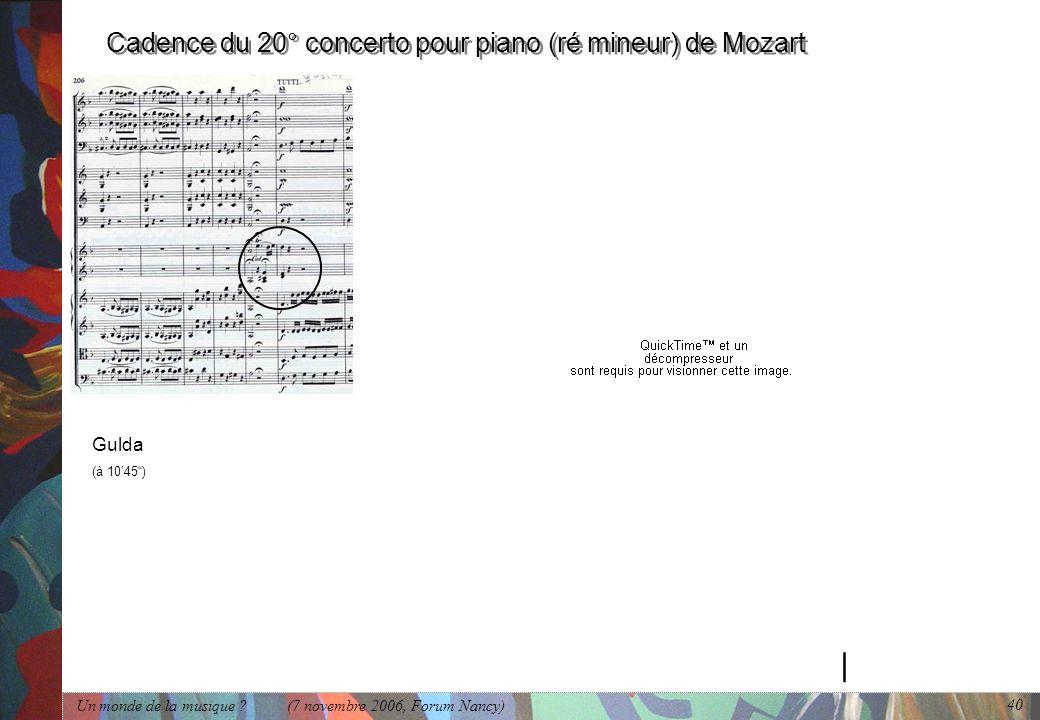 Cadence du 20° concerto pour piano (ré mineur) de Mozart