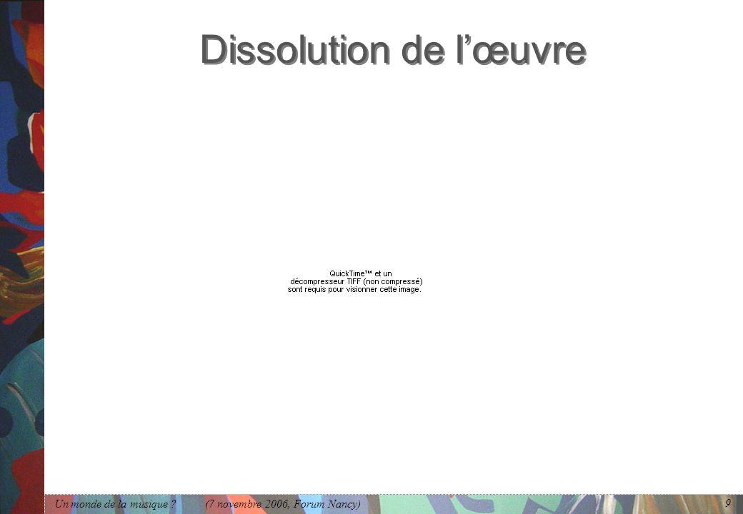 Dissolution de l'œuvre
