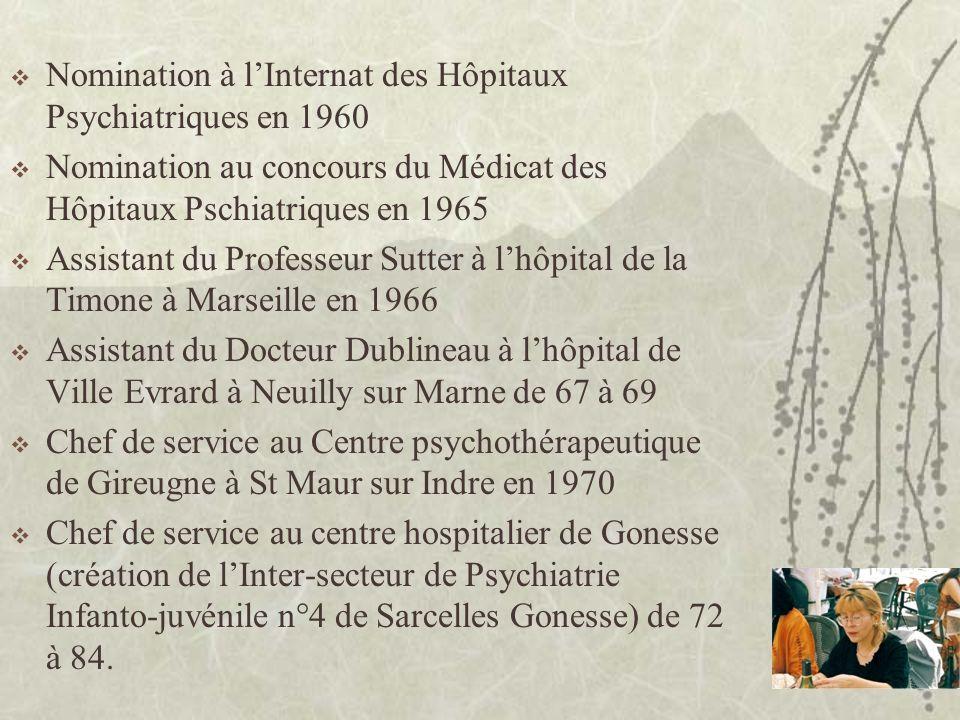 Nomination à l'Internat des Hôpitaux Psychiatriques en 1960
