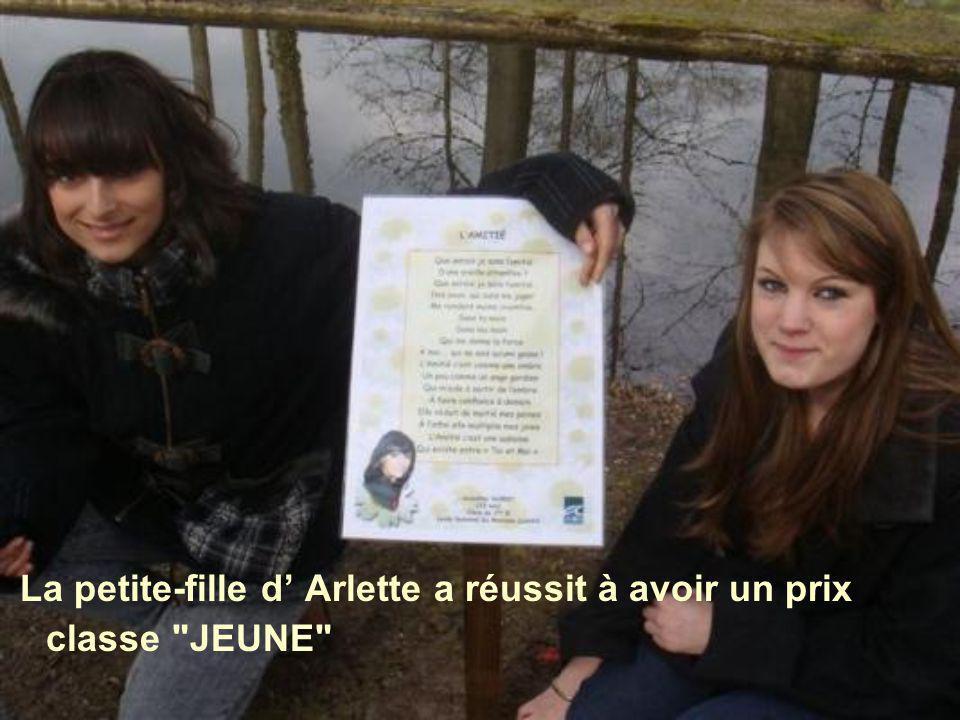 La petite-fille d' Arlette a réussit à avoir un prix classe JEUNE