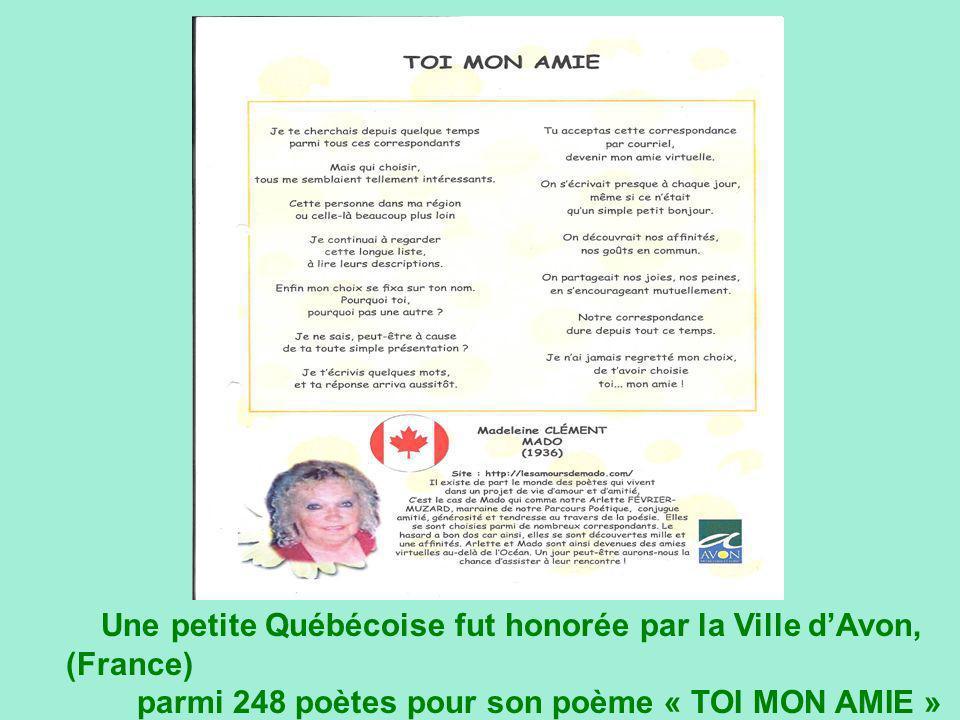 Une petite Québécoise fut honorée par la Ville d'Avon, (France)