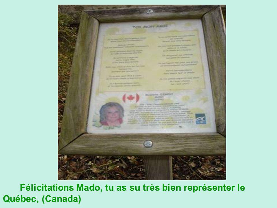Félicitations Mado, tu as su très bien représenter le Québec, (Canada)