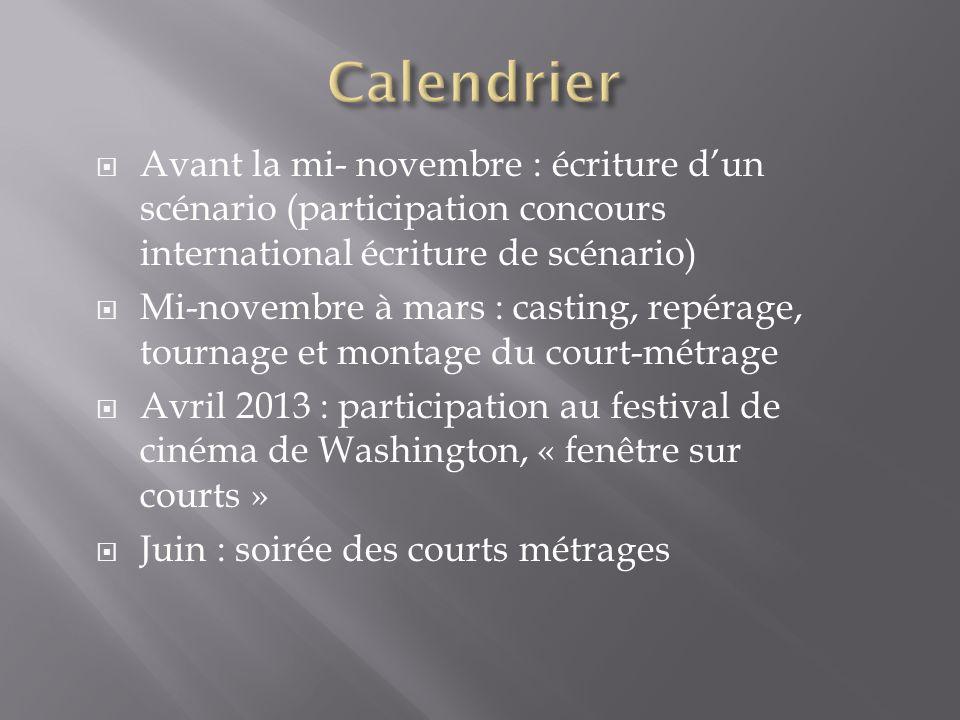 Calendrier Avant la mi- novembre : écriture d'un scénario (participation concours international écriture de scénario)