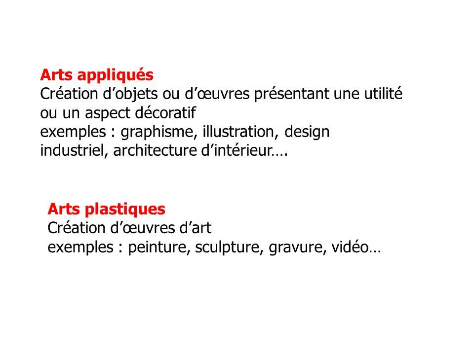 Arts appliqués Création d'objets ou d'œuvres présentant une utilité ou un aspect décoratif. exemples : graphisme, illustration, design.