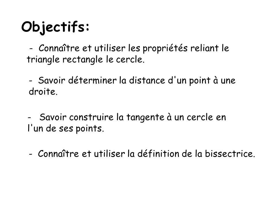Objectifs: - Connaître et utiliser les propriétés reliant le
