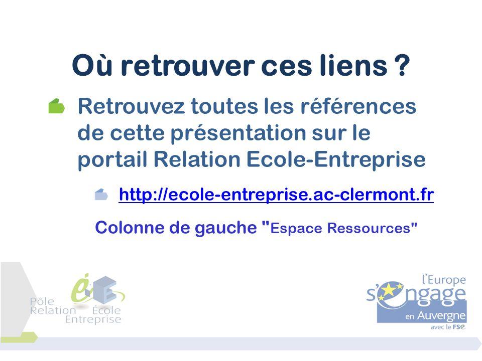 Où retrouver ces liens Retrouvez toutes les références de cette présentation sur le portail Relation Ecole-Entreprise.