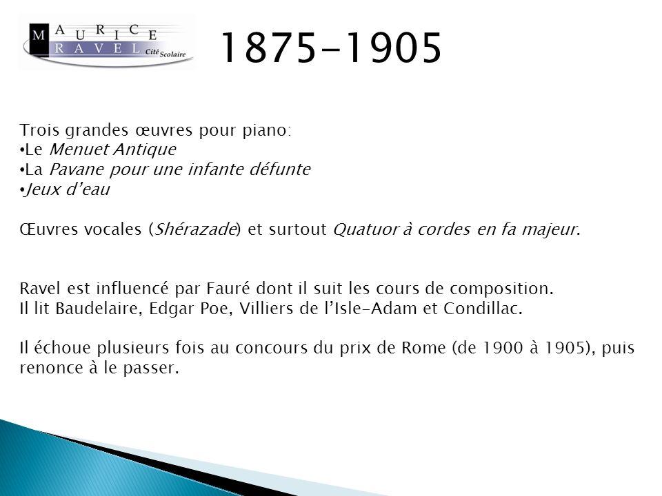 1875-1905 Trois grandes œuvres pour piano: Le Menuet Antique