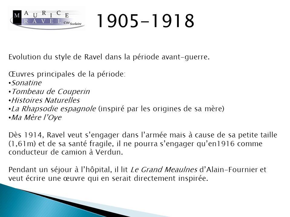 1905-1918 Evolution du style de Ravel dans la période avant-guerre.