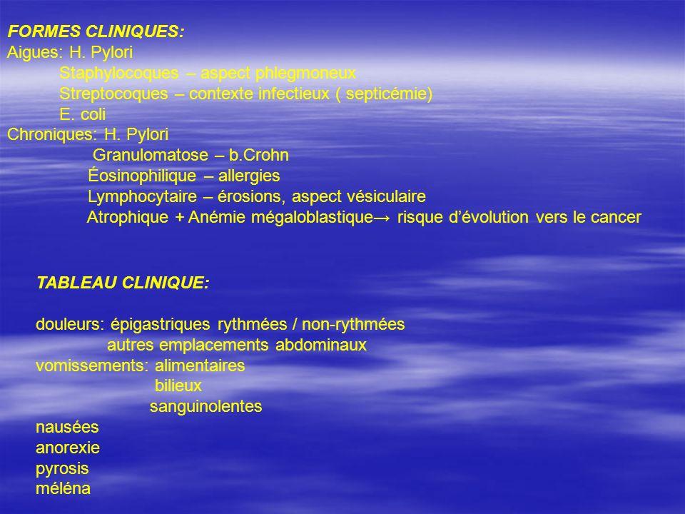 FORMES CLINIQUES: Aigues: H. Pylori. Staphylocoques – aspect phlegmoneux. Streptocoques – contexte infectieux ( septicémie)