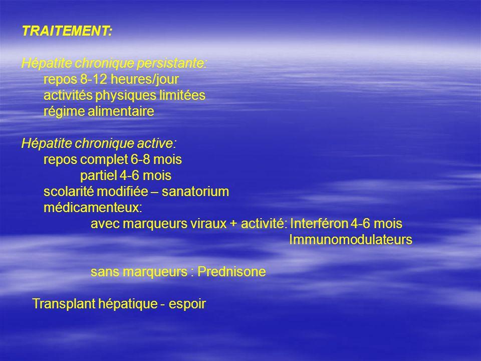TRAITEMENT: Hépatite chronique persistante: repos 8-12 heures/jour. activités physiques limitées.