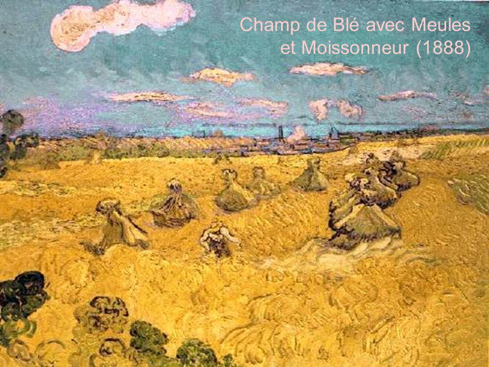 Champ de Blé avec Meules et Moissonneur (1888)