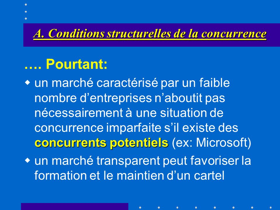 A. Conditions structurelles de la concurrence