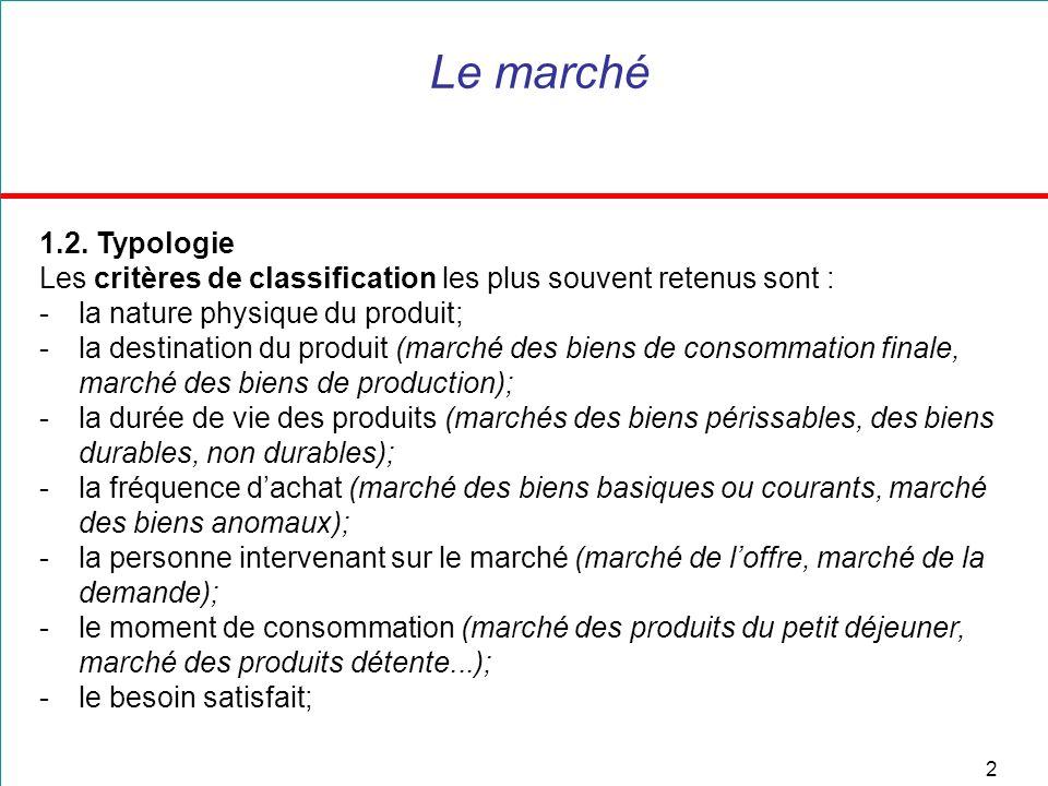Le marché 1.2. Typologie. Les critères de classification les plus souvent retenus sont : la nature physique du produit;