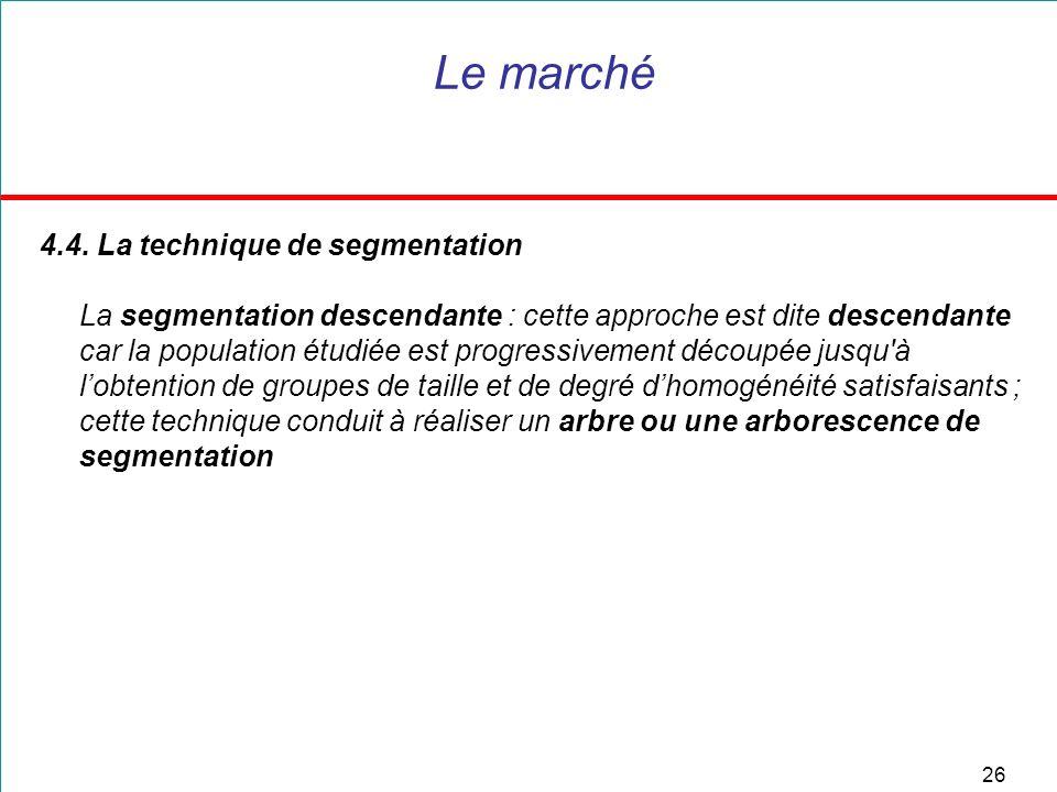 Le marché 4.4. La technique de segmentation