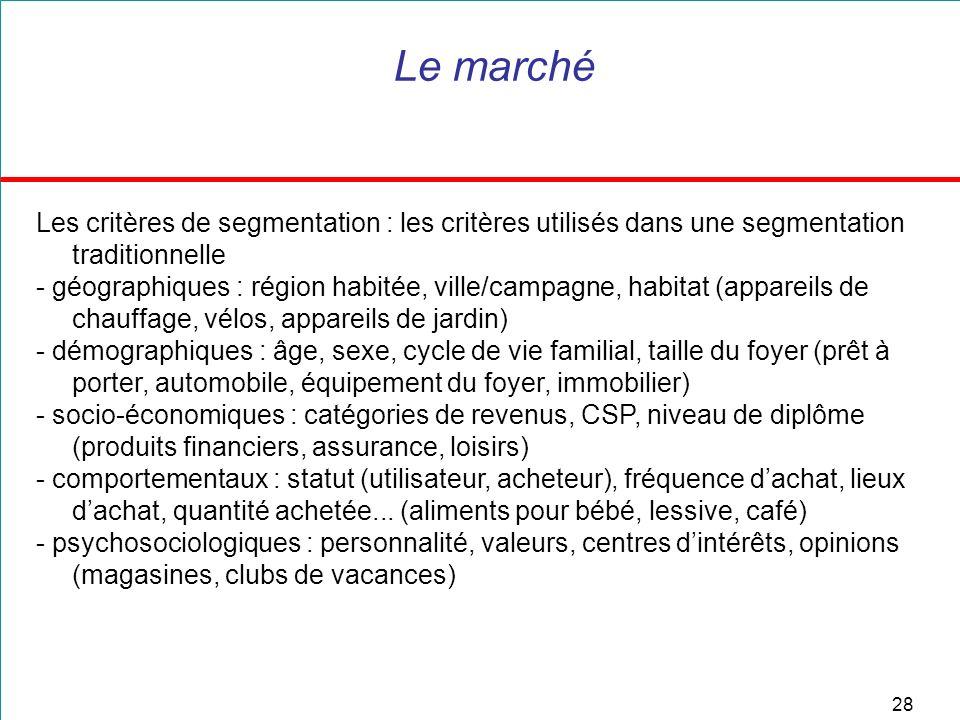 Le marché Les critères de segmentation : les critères utilisés dans une segmentation traditionnelle.