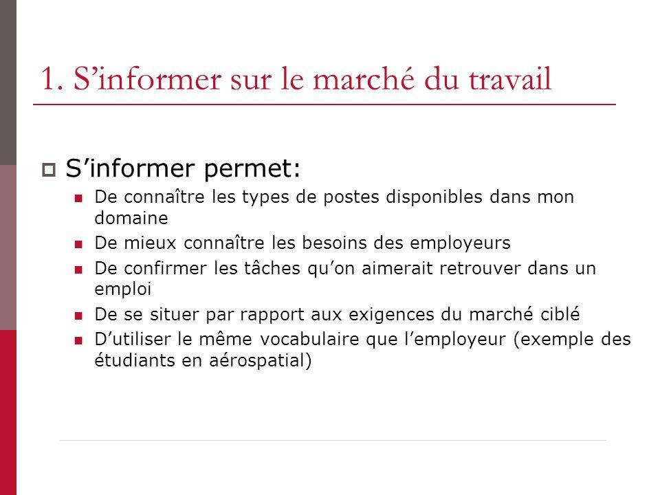 1. S'informer sur le marché du travail