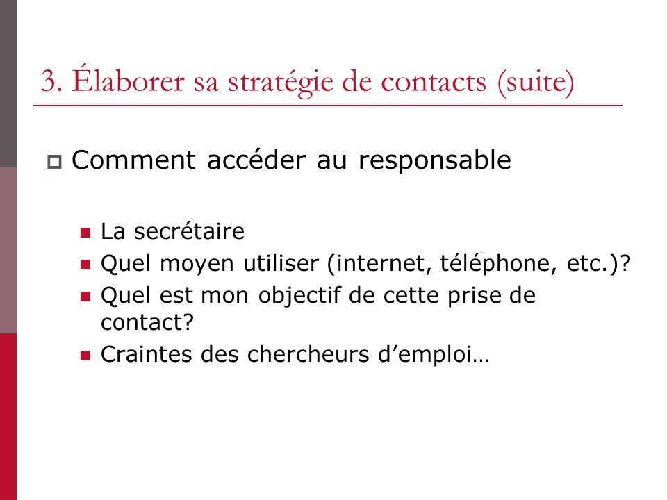 3. Élaborer sa stratégie de contacts (suite)