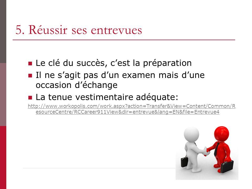 5. Réussir ses entrevues Le clé du succès, c'est la préparation