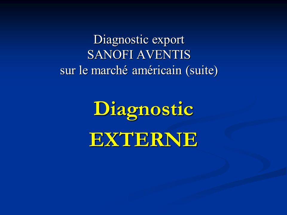 Diagnostic export SANOFI AVENTIS sur le marché américain (suite)
