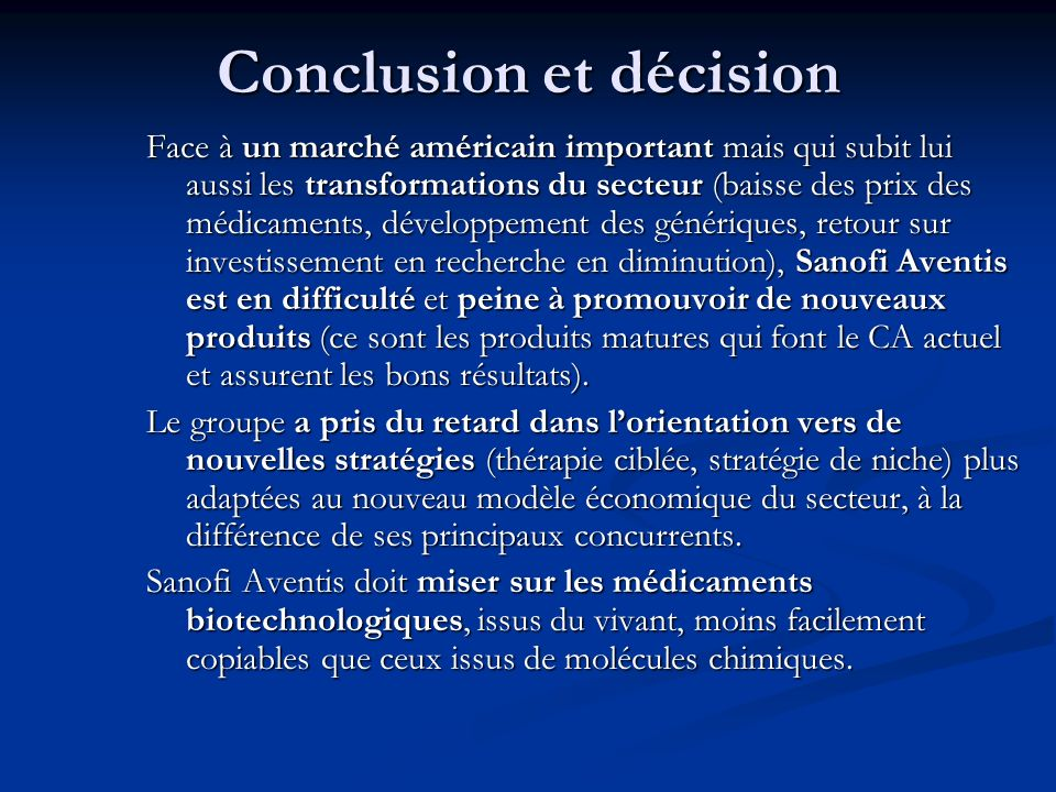 Conclusion et décision