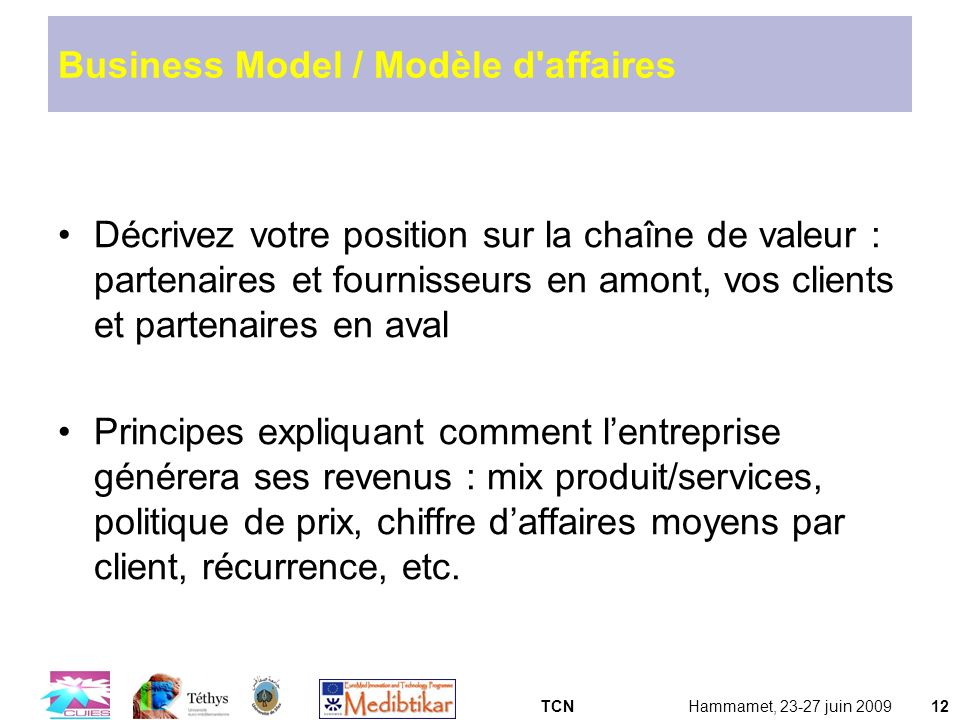 Business Model / Modèle d affaires