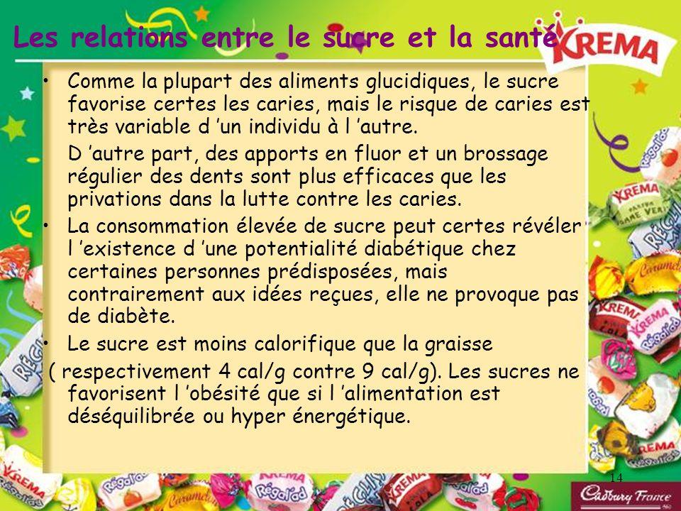 Les relations entre le sucre et la santé