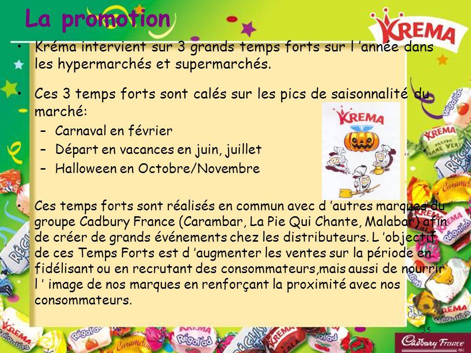 La promotion Kréma intervient sur 3 grands temps forts sur l 'année dans les hypermarchés et supermarchés.