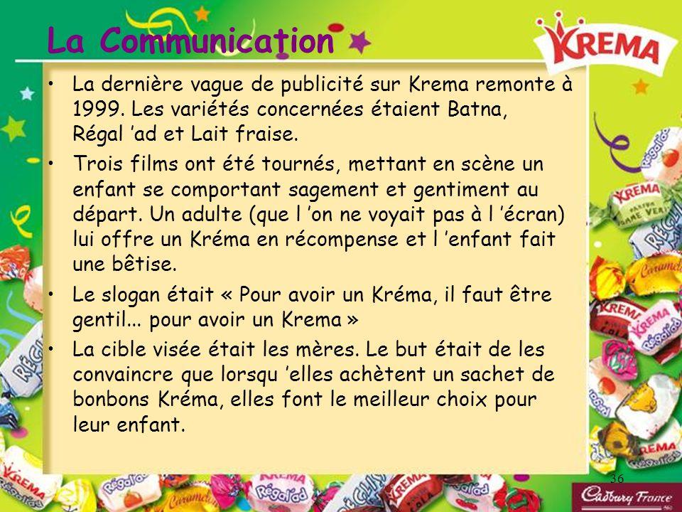 La CommunicationLa dernière vague de publicité sur Krema remonte à 1999. Les variétés concernées étaient Batna, Régal 'ad et Lait fraise.