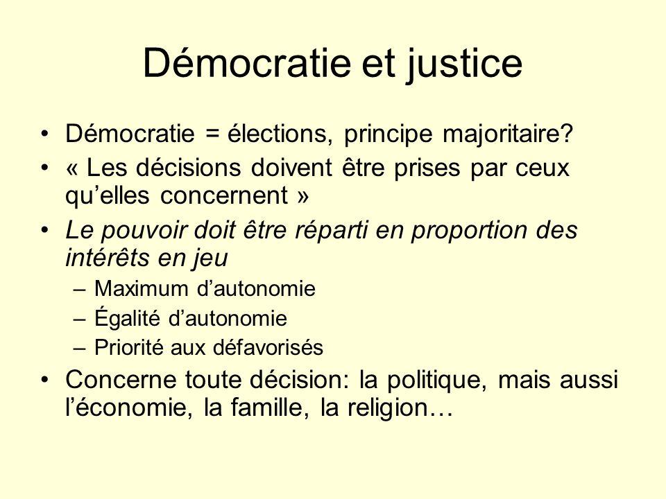 Démocratie et justice Démocratie = élections, principe majoritaire