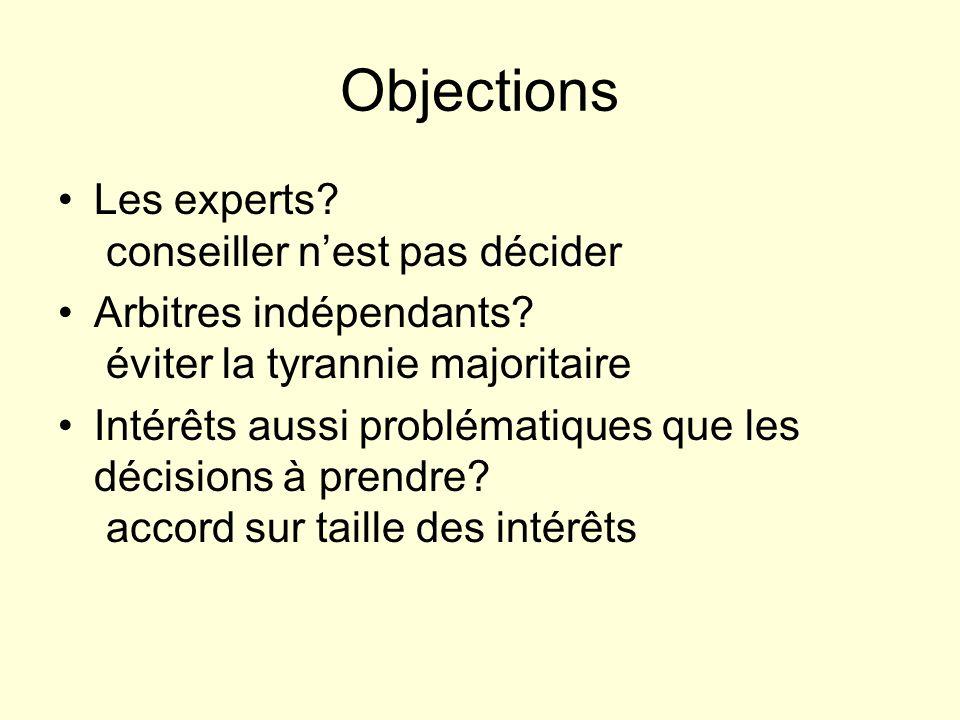 Objections Les experts conseiller n'est pas décider