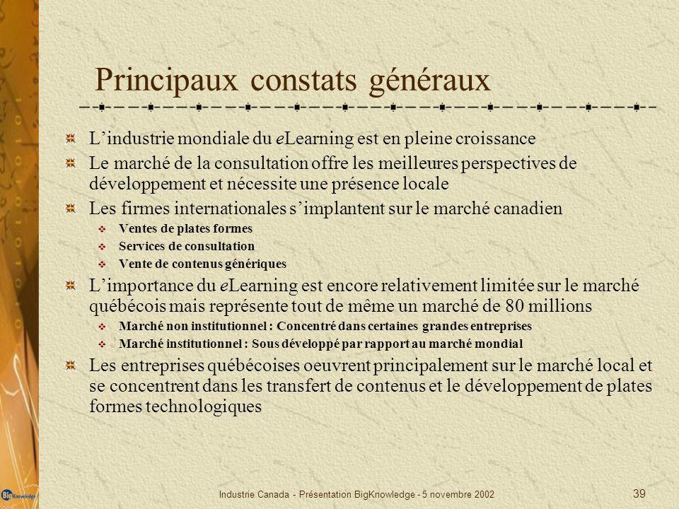 Principaux constats généraux